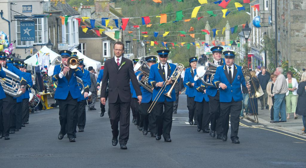 Town Band parading through Helston