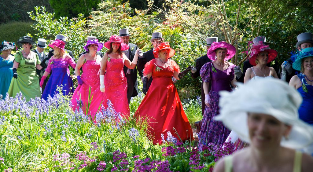 Midday dancers go through Lismore at Helston Flora Day