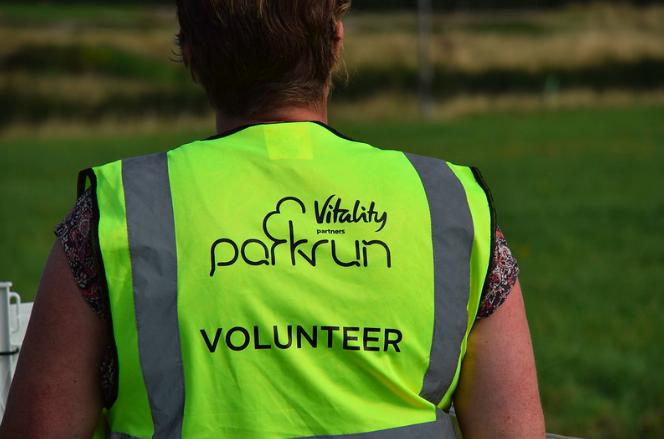 Park Run volunteer - photo of back of jacket
