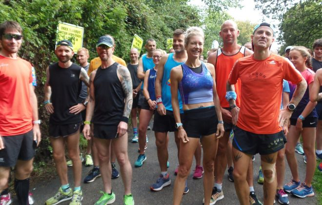 Penrose Park Run runners get ready at the start of the Helston race